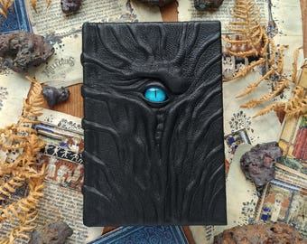Handmade leather necronomicon, one of a kind journal, blue eye dark gothic diary, larp larper sketchbook, scary horror creepy notebook