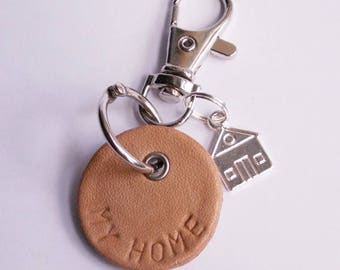 """Beige leather key fob """"My Home"""""""