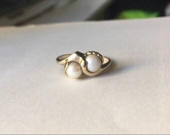14k Pearl Moi Et Toi Ring