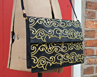 Convertible embroidered vintage purse / 1980s suede handbag / 80s purse / black and gold crossbody bag / convertible clutch / J Renee