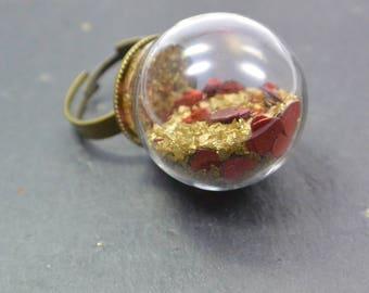 Ring Heart Glasblobe redt adjustable