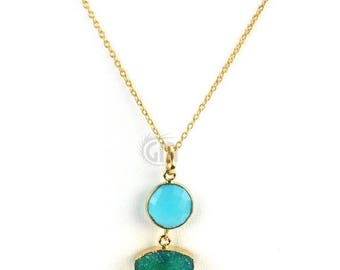 50% OFF Sky Blue & Green Druzy Pendant Necklace 22k Gold Plated Necklace Chain Gemstone  Pendant Necklace (NC-16386)