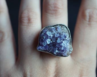 Raw Amethyst Sterling Silver Ring - Silver Rings Women - Gypsy Ring - One of a Kind - Size 8.5