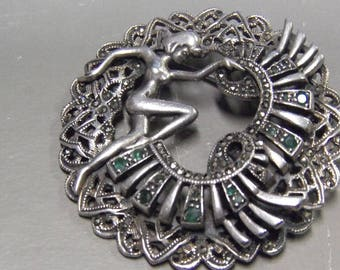 Emerald Marcasite  Pendant Pin