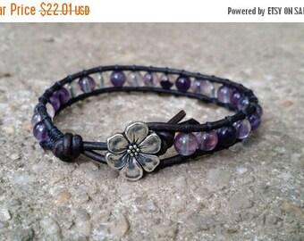 SUMMER SALE purple fluorite leather wrap bracelet single wrap earthy bracelet apple blossom button black leather boho bracelet