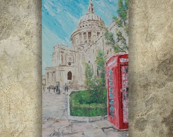LONDON St Paul's Cathedral palette knife painting 60x120x4 cm Large painting S42 beige decor original art by Ksavera