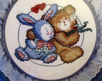 Designs for The Needle Stamped Cross Stitch Kit Classics Friends Bunny Bear