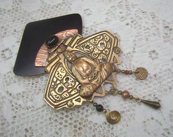 New Year Sale...Vintage Mixed Metal Buddha Brooch...Black Cabochon Stone...Copper...Brass....Three Dangles...Unique Patterns