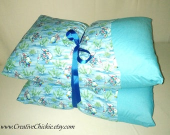 Rainbow Fish Pillow Bed, READY to SHIP, Children's Pillow Bed, Pillow Mattress, Sleepover Bed