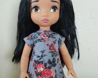 Disney Animator Doll Dress by The Glam Doll - Red and Grey Floral