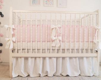 Crib  bedding - linen crib bedding -  skirt and bumper - girl crib bedding, girl nursery