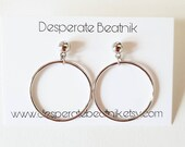 SMALL size silver tone vintage style hoops earrings (clipons or posts) 50s 60s