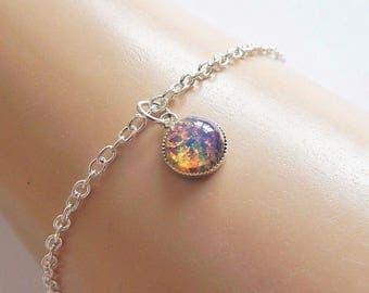 Fire Opal Ankle Bracelet, Silver Ankle Bracelet, Fire Opal Anklet, Silver Anklet, Summer Anklet, Boho Ankle Bracelet