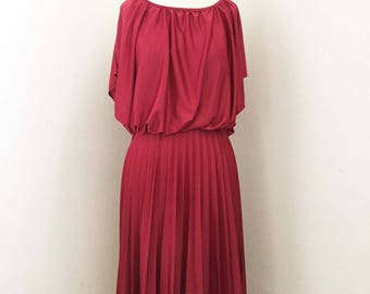 70s Cranberry Dress with Pleated Skirt