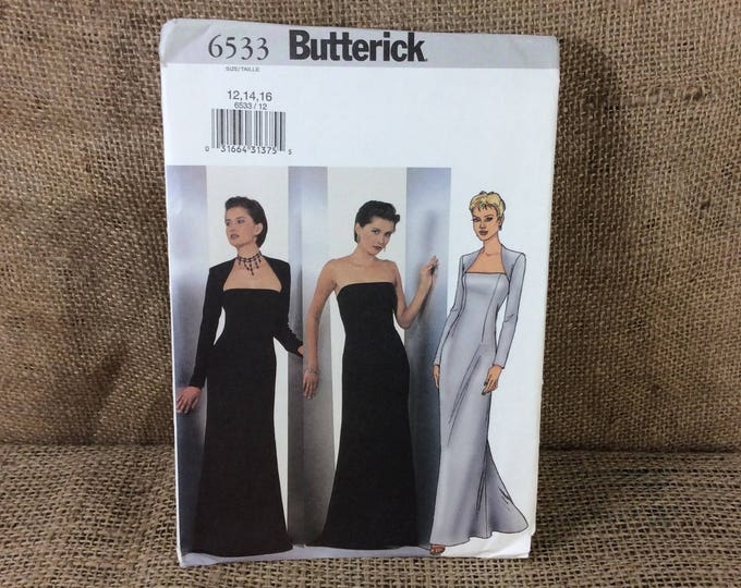 Butterick pattern 6533, evening gown, uncut, 2.50 US Shipping, sew your own evening gown, 2001 evening gown to make, dress and shrug