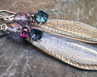 Frosty shimmer dragonfly fairy faerie wing earrings.