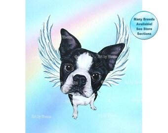 Boston Terrier Angel, Boston Terrier, Dog Angel, Dog Memorial, Boston Terrier, Pet Memorial, Boston Terrier Art, Pet Lover