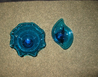 "TWO BLUE DISHES Bottom Silver Pedestal By Empire Unscrews From Dish One Fluted Dish 6 1/2"" High 9"" Across One 2 Sided Dish 5"" High 8 1/2"""