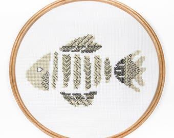 Skeletal Fish - Modern Cross Stitch PDF - Instant Download