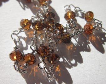 0.20 m chain silver metal trimmed marro (U0) glass beads