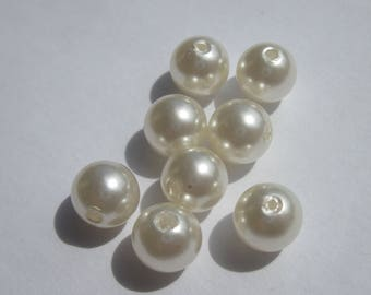 glass Pearl 10 mm - PV34-2 - 8 round beads