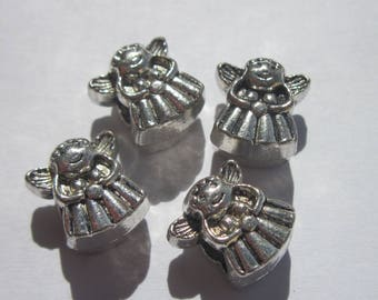 4 beads of fairy Angel silver big hole (1906)