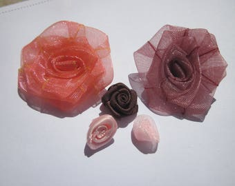 5 fabric flowers satin and organza (F12)