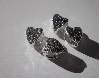 4 beads big hole (201) silver metal heart shaped