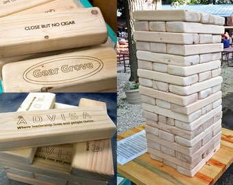 "Personalized Giant Tower Block Puzzle Game, Laser Engraved, 54 Blocks, Reclaimed Pine, Add Your Logo, 27"" Tall"