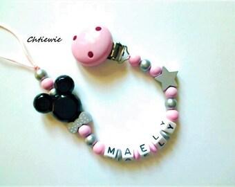 Pacifier chain minnie - pacifier clip - baby girl gift - baby shower gift - beaded pacifier chain - baby accessory - baby boy- dummy chain