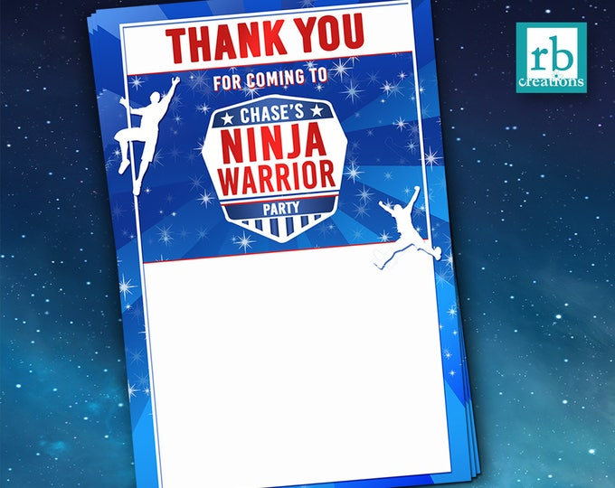 PRINTED Ninja Warrior Thank You Notes, Ninja Warrior Party, Ninja Warrior Birthday Party - Printed Flat Thank You Notes with Envelopes