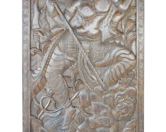Wall Sculpture Maa Durga Hand Carved Panel Fighting with Evil Powers Wall Hanging Decor , Mahishasur Mardini Panel