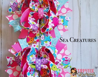 Back 2 School hair bows ,Sea Creatures boutique hair bow