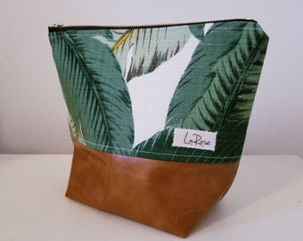 Banana Leaf Print Bag, Palm print bag, makeup bag, cosmetic bag
