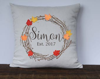 Personalized Fall Pillow Cover, Farmhouse Pillow Cover, Maple Leaf Wreath, Fall Decor, Wedding gift, Housewarming Gift, Hostess Gift