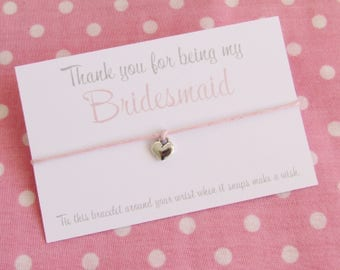 Thank You For Being My Bridesmaid Chief Bridesmaid Maid Of Honour Flower Girl? Wish Bracelet Gift & Bag