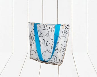 Eco Friendly Reusable Shopping Bag Large Reversible Cotton Wishbone Printed Tote Bag with Blue Lining
