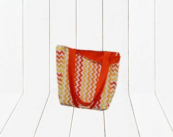 Eco Friendly Reusable Shopping Bag Ombre Orange Chevron with Orange Lining Reversible Tote Bag - Solid Strap
