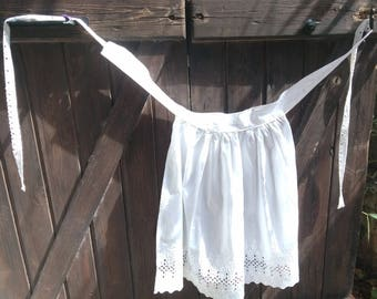 Vintage French Maid Apron White Floral Eyelet Cotton made  #sophieladydeparis