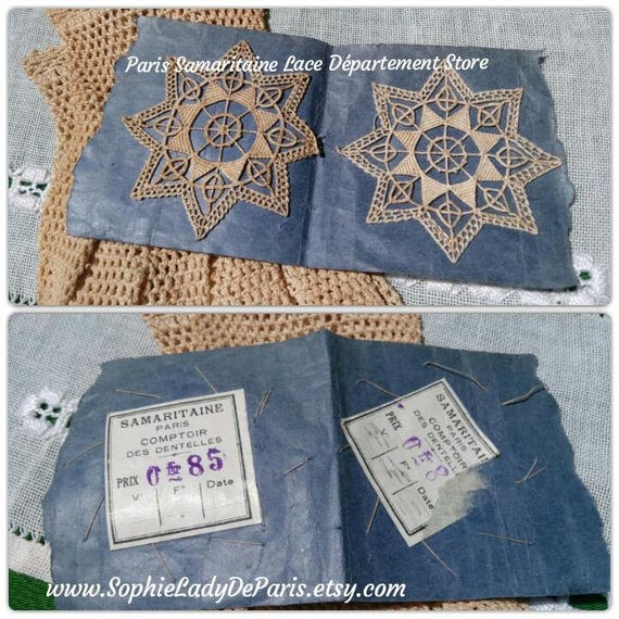 2 Antique Paris 1920's Lace Collectible Haberdashery Small Beige French Cotton Star Tag Samaritaine Lace Department Store #sophieladydeparis