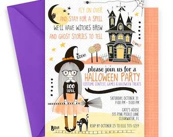 Witch Invitation | Halloween Birthday Invitation | Witch Party | Witch Birthday | Witch Birthday Invitation | Witch Invitations | 315