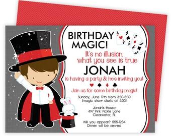 Magic Invitation, Magic Birthday Party, Magic Party Invitation, Magic Invite, Magician Birthday Party, Magic Party, Magic Birthday | 497