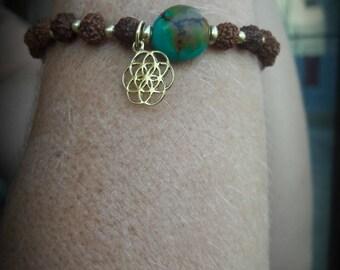 BEAUTIFUL bracelet turquoise and rudraksha seed of life