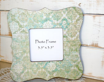 Cottage style Picture frame, Green and Aqua Photo frame, Damask Frame, Decoupage Frame, Damask decor