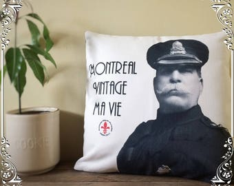Montreal pillow cover,  Police pillow case, Pierre Bélanger photo, Montreal vintage my life pillow cover, historical pillow case, retro deco