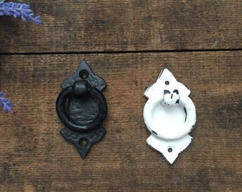 Cast Iron OLD WORLD Black Or White Ring Drawer Pull Knob Handle Vintage Inspired Medieval Hardware DIY Project