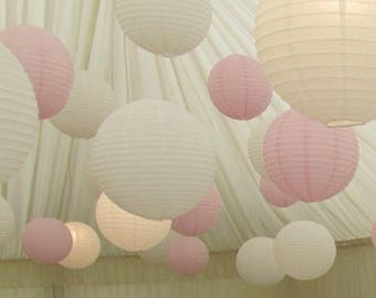 9x White & Pink Paper Lanterns with LED Bulbs for Wedding Engagement Anniversary Birthday Party Hanging Lighting Decoration