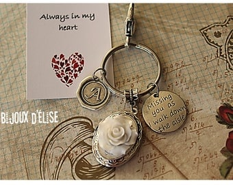 Personalized Missing You as I Walk Down  the Aisle Keychain Picture Frame Keychain Memorial Keychain (KC36)