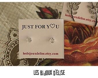 Clear Crystal Round Earrings Crystal Studs Silver Tone (BO05) - Bridal Earrings