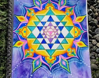 Sri Yantra Sacred Geometry Rainbow Mandala Original Watercolor Painting Spiritual Artwork Visionary Art
